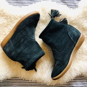 Isabelle Marant Black Suede Wedge Booties Size 6.5